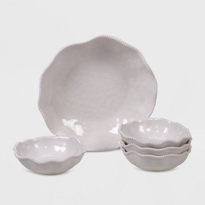5pc Melamine Perlette Salad/Serving Set Cream - Certified International