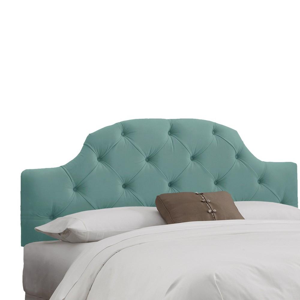 Queen Upholstered Curved Tufted Headboard Velvet Caribbean - Skyline Furniture