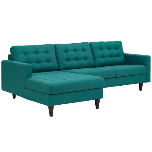 Empress Leftfacing Upholstered Sectional Sofa Teal Modway