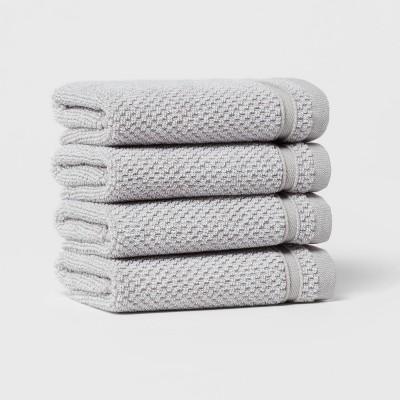 4pk Performance Texture Washcloth Set Light Gray - Threshold™