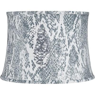Springcrest Gray Velvet Snake Skin Drum Lamp Shade 14x16x11.5 (Spider)