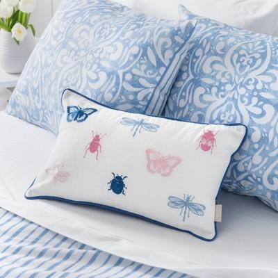 Ellie Bugs & Butterflies Throw Pillow Cover White/Blue - Martha Stewart