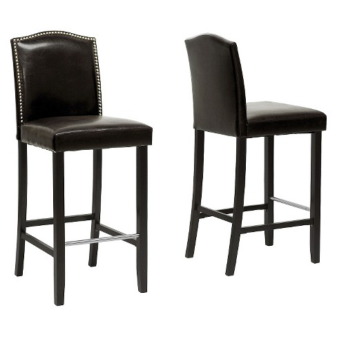 Libra Modern Bar Stool with Nail Head Trim - Brown (Set of 2) - Baxton Studio - image 1 of 2