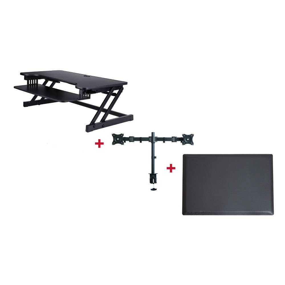 Deluxe Height Adjustable Computer Riser with Mat Monitor Mount