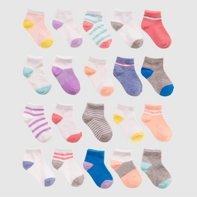 Baby Girls' 20pk Ankle Socks - Cat & Jack™ Pink 6-12M