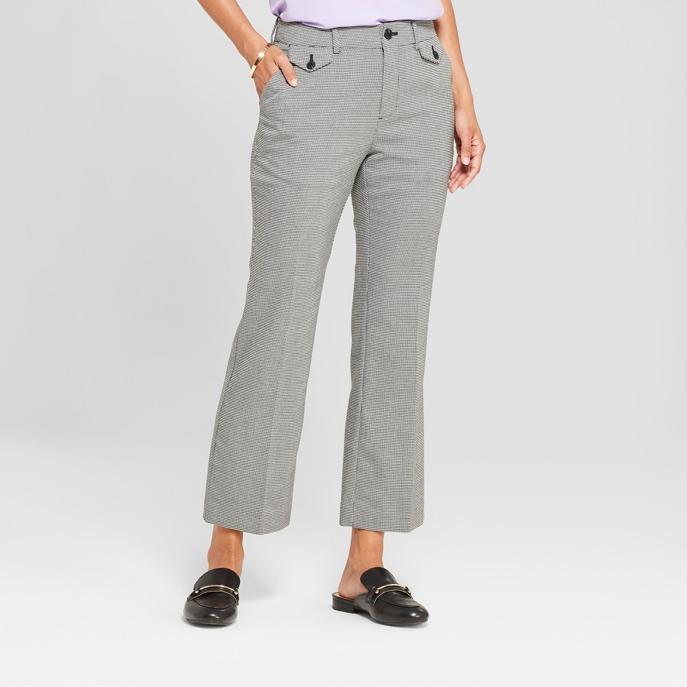 Women's Plaid Kick Flare Pants - A New Day Black/White 6