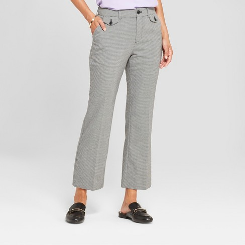 Women's Plaid Kick Flare Pants - A New Day™ Black/White - image 1 of 3
