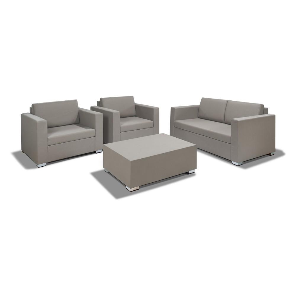 4pc Arete Textilene Patio Conversation Set with Beige Cushions Desert - Thy Hom