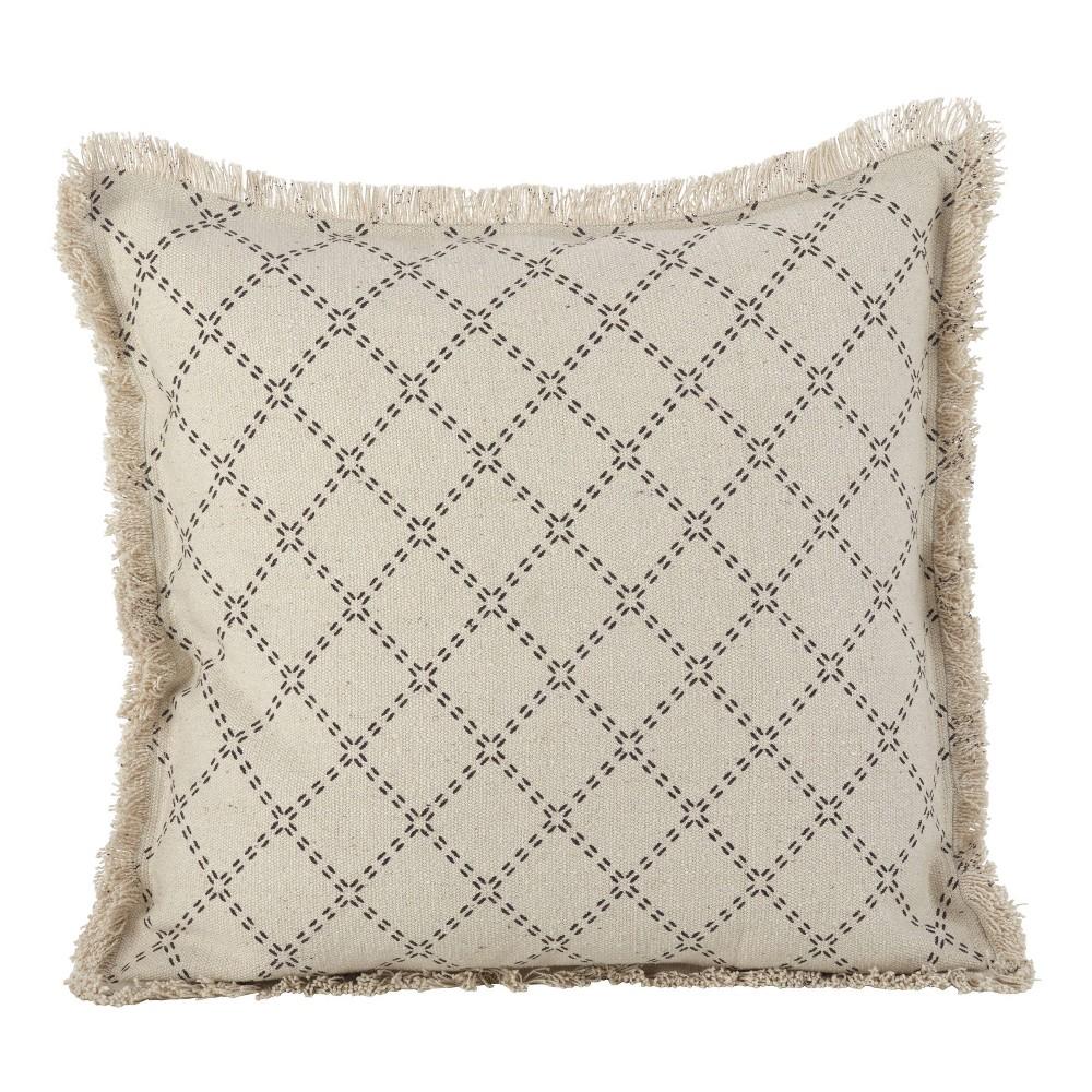 Down Filled Fringed Diamond Pillow Natural Saro Lifestyle