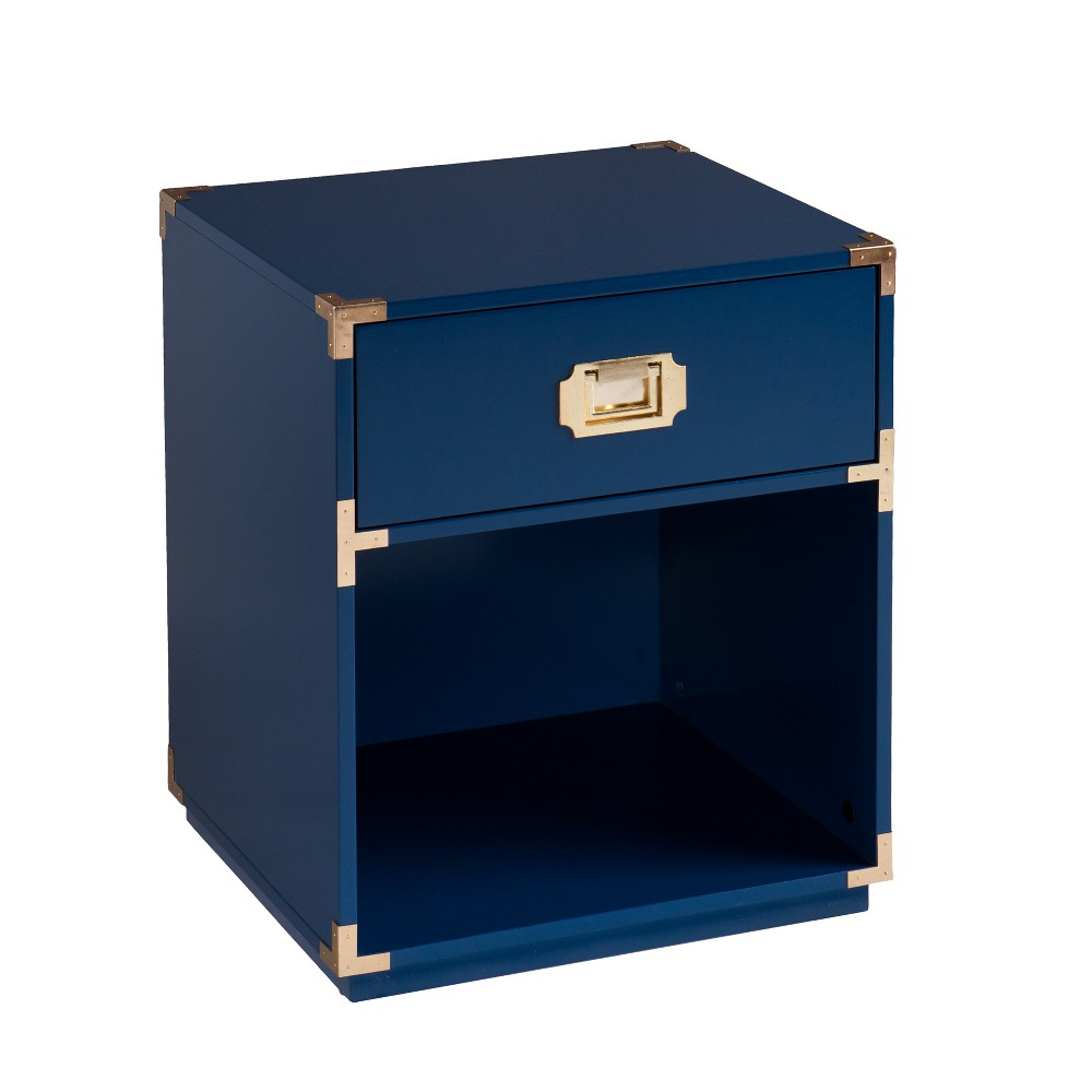 Claude Tall Storage Side Table Navy (Blue) - Aiden Lane