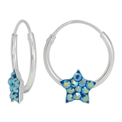 Girls' Sterling Silver Endless Hoop with Blue Crystal Star-14MM - image 1 of 1