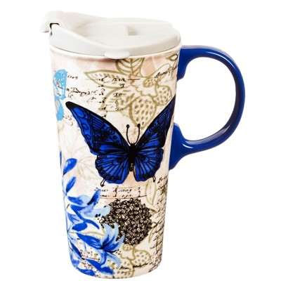 Cypress Home Blue Floral Study Ceramic Travel Coffee Mug, 17 ounces