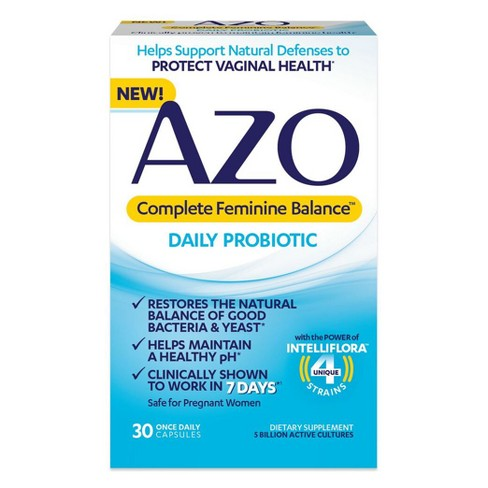 AZO Complete Feminine Balance, Daily Probiotic for Women, Supports Vaginal Health - 30ct - image 1 of 4