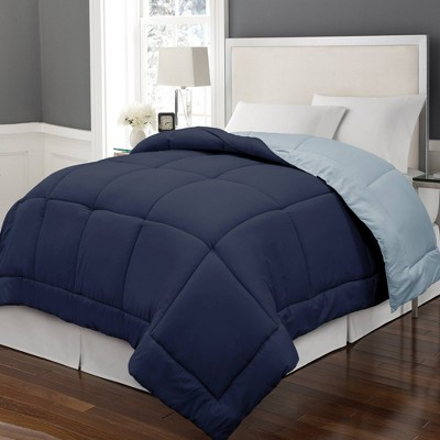 Full/Queen Reversible Microfiber Down Alternative Comforter Navy/Light Blue - Blue Ridge Home Fashions