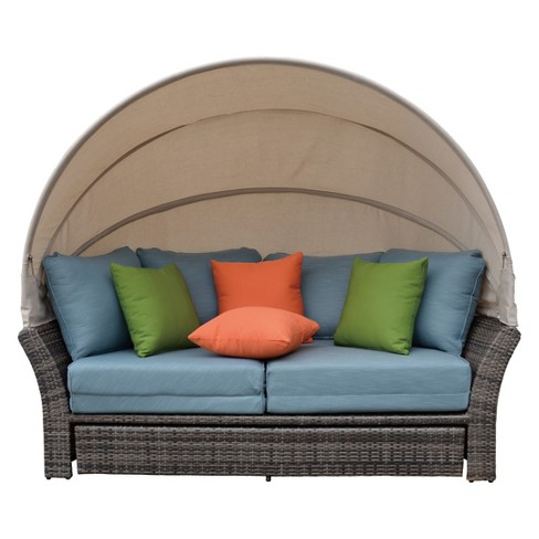 Eclipse Outdoor Expandable Oval Daybed with Canopy - Taupe - Courtyard  Casual