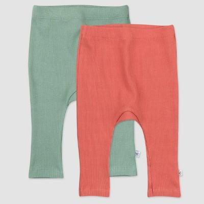 Honest Baby Girls' 2pk Organic Cotton Chunky Rib Harem Pull-On Pants - Pink/Green 0-3M