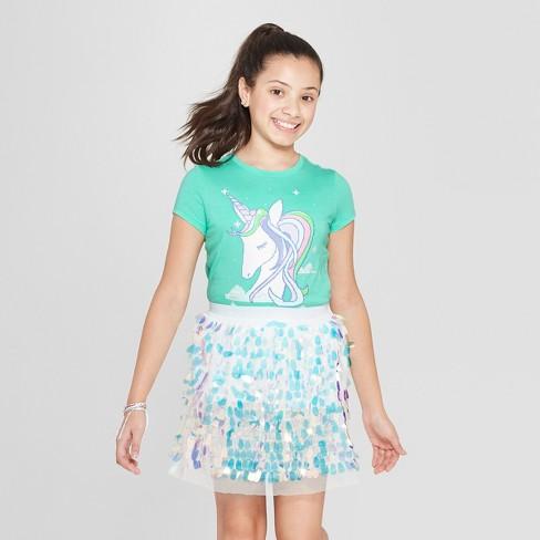 Girls  Short Sleeve Graphic Unicorn T-Shirt - Cat   Jack™ Green   Target 83458a76a