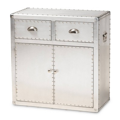 Serge Metal 2 Door Accent Storage Cabinet Silver - Baxton Studio