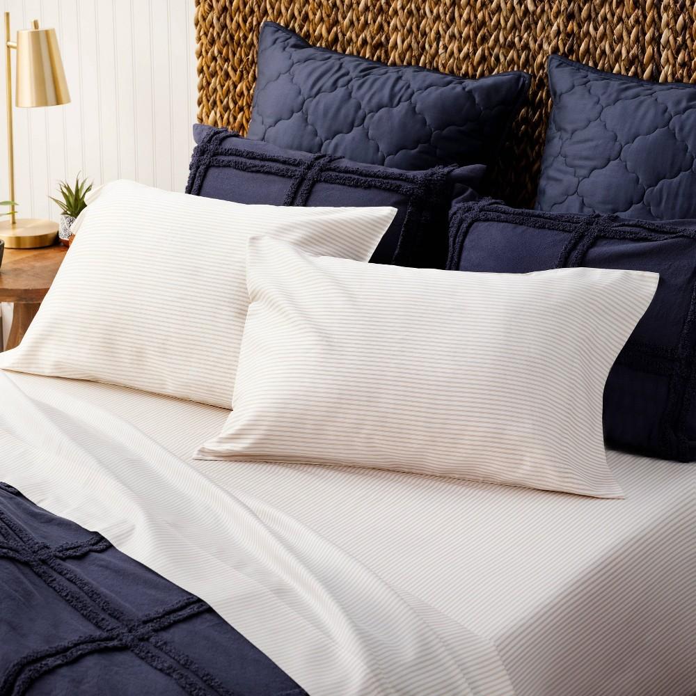 King Printed Cotton Sheet Set Oat Stripe Martha Stewart