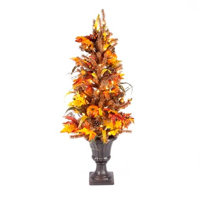 Gerson International 46-Inch Tall Pre-Lit Fall/Harvest Tree with Pumpkins, Pinecones, and Berries with 50 Lights