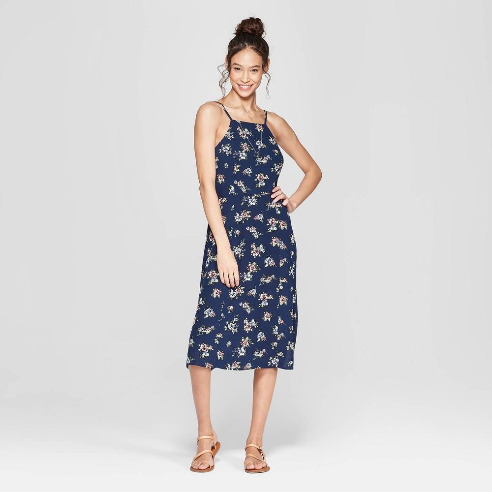 Women's Floral Print Strappy High Neck Midi Dress - Xhilaration Navy S, Blue