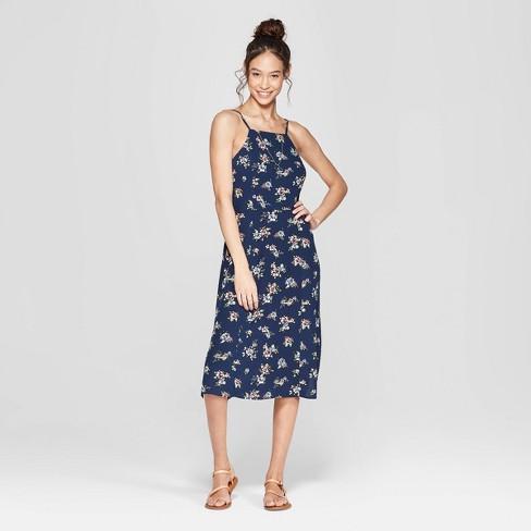 984daee4c092 Women s Floral Print Strappy High Neck Midi Dress - Xhilaration™ Navy