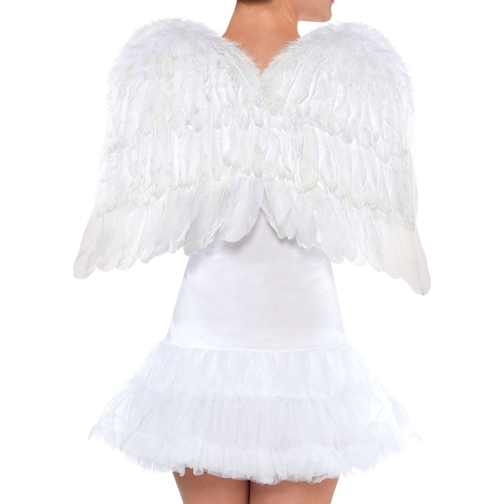"Image of ""22"""" Feather Wing Halloween Accessory - White"""