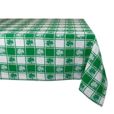 "52"" Cotton Woven Shamrock Check Tablecloth Green - Design Imports"