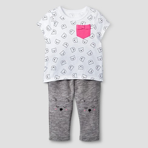 Baby Girls' 2 Piece Kitty Print Set Cat & Jack™ - Gray - image 1 of 2