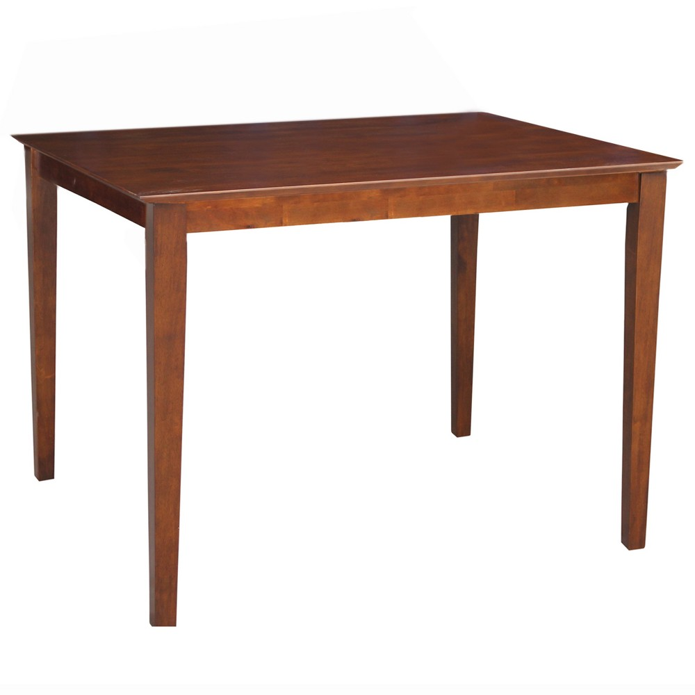 30' X 48' Solid Wood Top Counter Height Table with Shaker Legs Brown - International Concepts