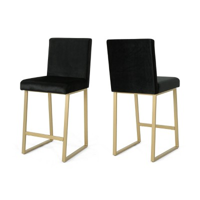 Set of 2 Toucanet Modern Counter Height Barstools Black/Brass - Christopher Knight Home