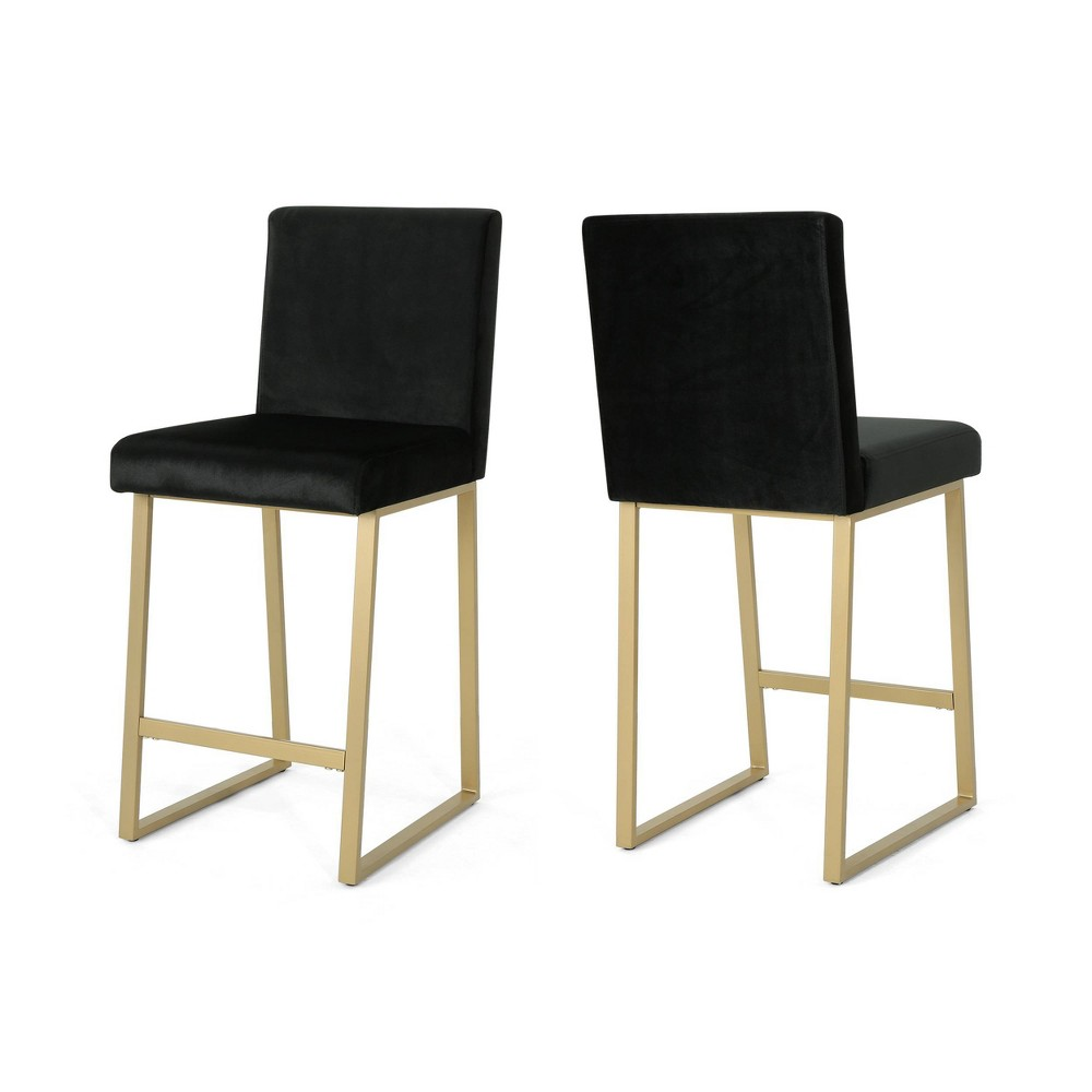 Toucanet Set of 2 Counterstool Black/Brass - Christopher Knight Home