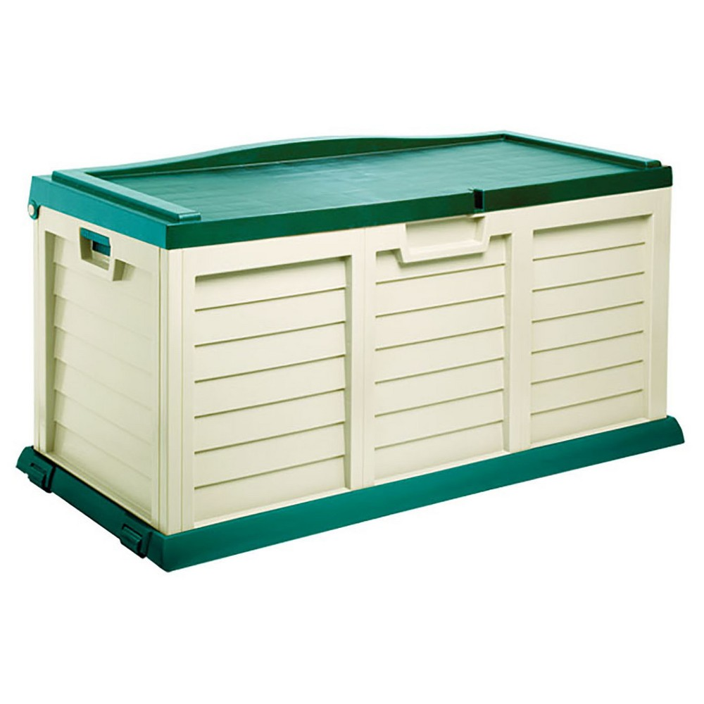 Image of Deck Box With Sit On Cover 103 Gallon - Beige/Green - Starplast