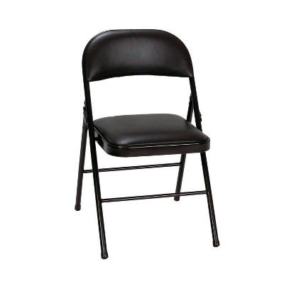 4pk Vinyl Folding Chair Black - Room & Joy