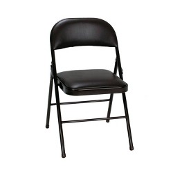 4pk Vinyl Folding Chair Black - Room & Joy