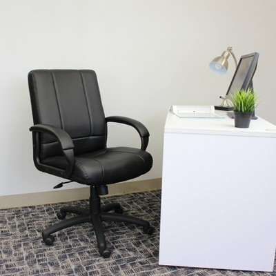 Caressoft Executive Mid Back Chair Black - Boss Office Products
