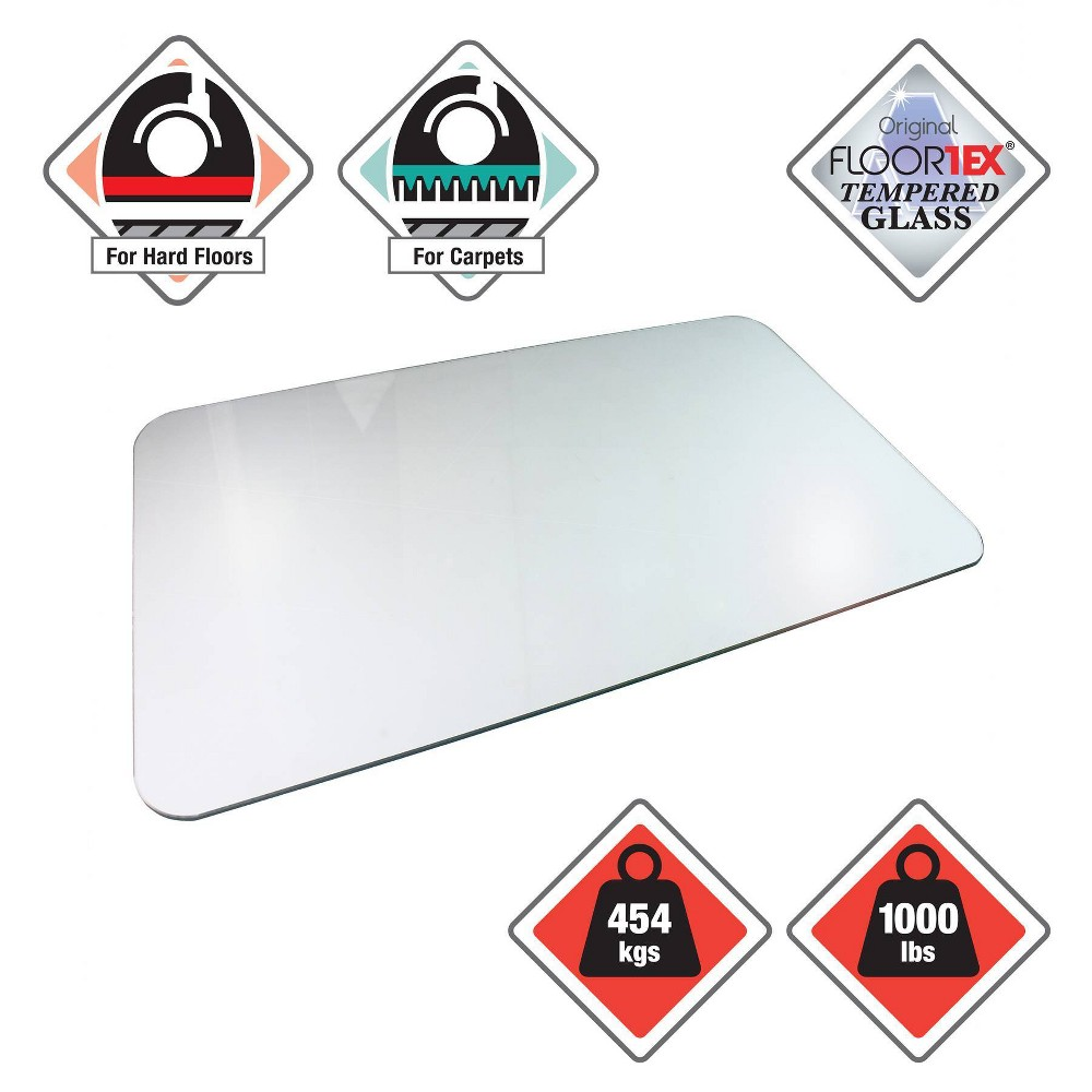 "Image of ""36""""x48"""" Reinforced Glass Executive Glacier Mat For Hard Floors & All Pile Carpets - Cleartex"""