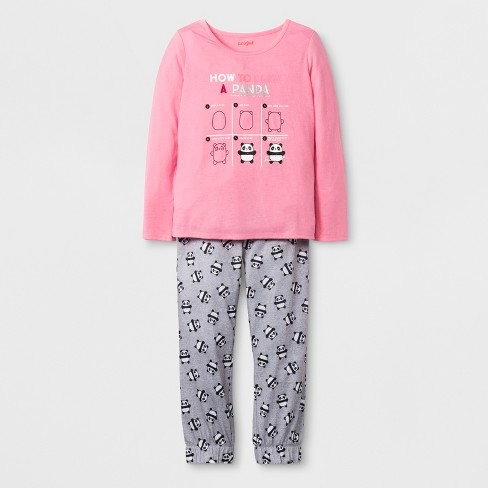 Girls 2pc Long Sleeve How To Draw A Panda Graphic Pajama Set Cat