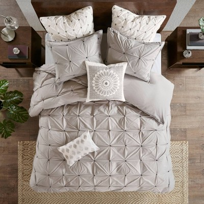 Masie Full/Queen 3pc Elastic Embroidered Comforter Set Gray