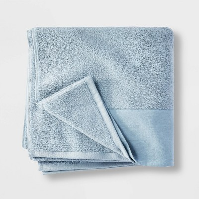Linen Cuff Bath Towel Light Blue - Casaluna™