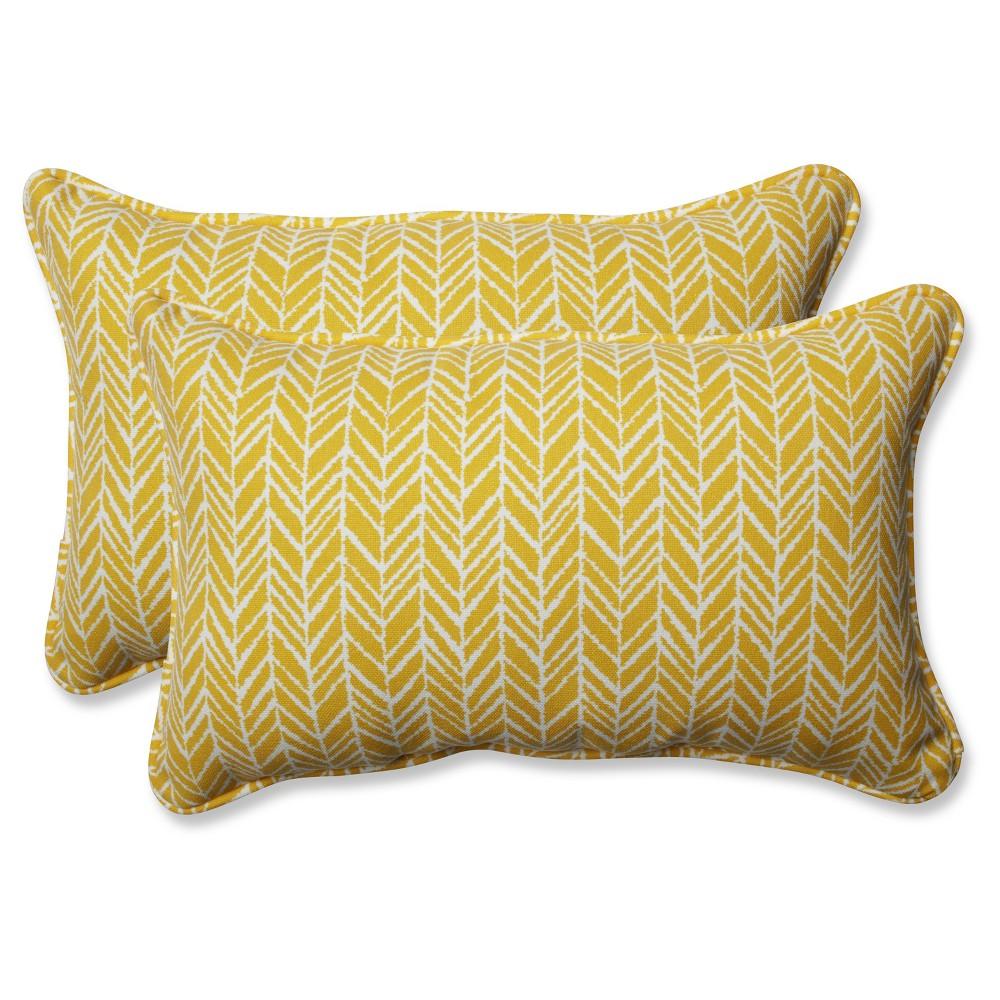 Outdoor/Indoor Herringbone Yellow Rectangular Throw Pillow Set of 2 - Pillow Perfect