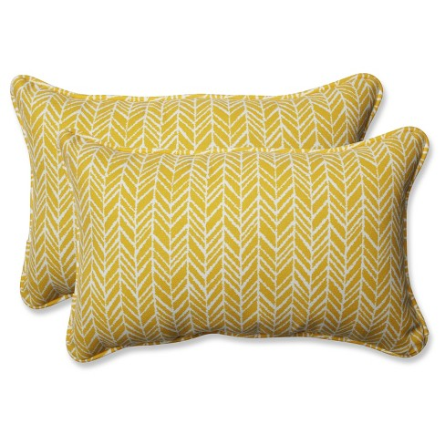 Outdoor/Indoor Herringbone Yellow Rectangular Throw Pillow Set of 2 - Pillow Perfect - image 1 of 1