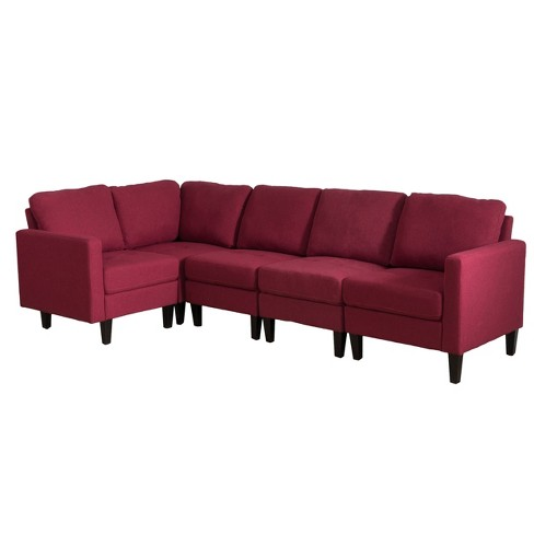 5pc Zahra Sectional Couch Deep Red - Christopher Knight Home