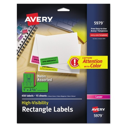 1 X 2 5 8 Label Template | Avery 1 X 2 5 8 High Visibility Laser Labels Assorted Neons 450