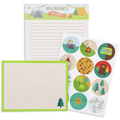 48-Pack Camp Stationery Paper Set with Stickers and Envelopes