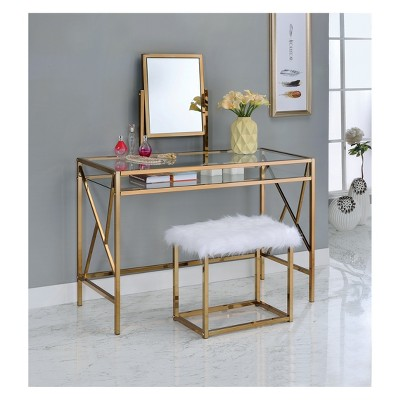 Burdette Contemporary Vanity Table Set Light Gold - HOMES: Inside + Out