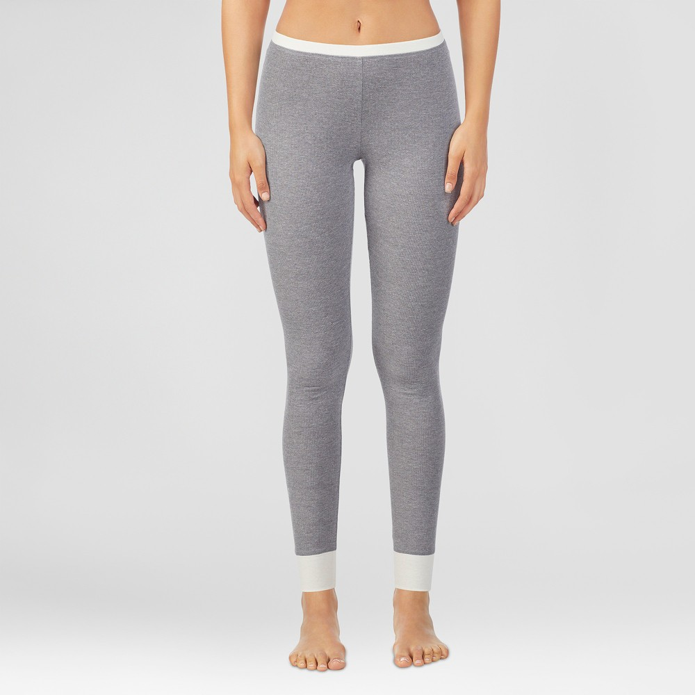 Warm Essentials by Cuddl Duds Women's Waffle Thermal Pants - Grey Heather L, Gray