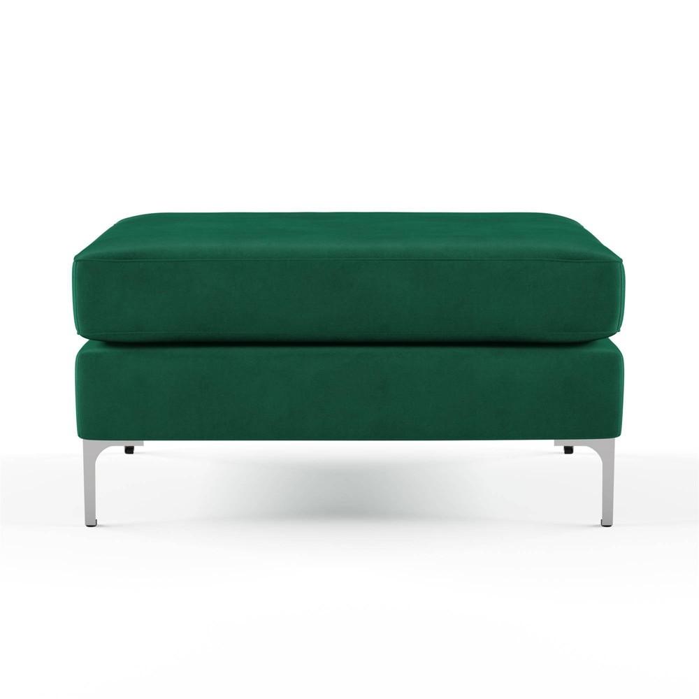 Image of Chapman Velvet Ottoman with Chrome Legs Green - Novogratz