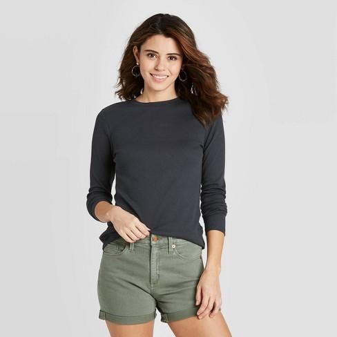 Women's Long Sleeve Slim Fit Rib T-Shirt - Universal Thread™ - image 1 of 4