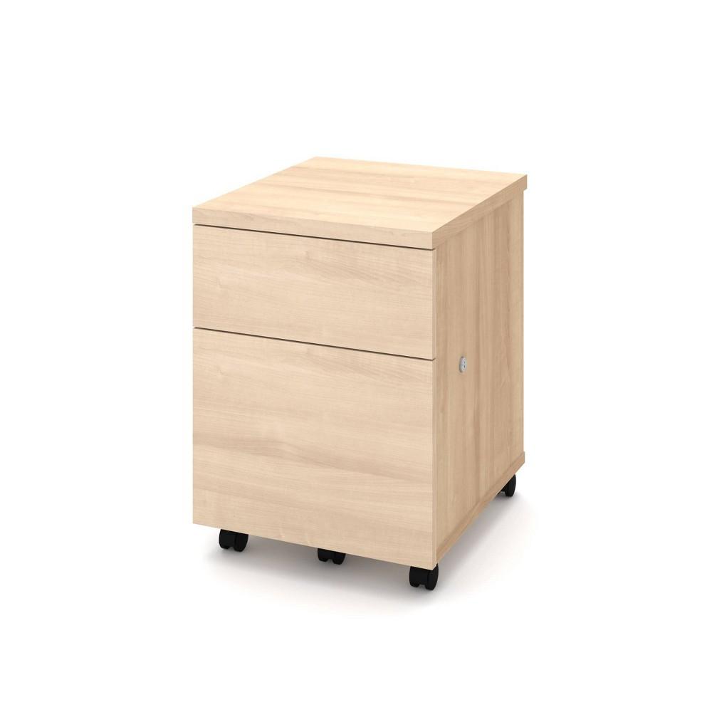 Image of 1U1F Mobile File Cabinet Northern Maple - Bestar, Northern Brown